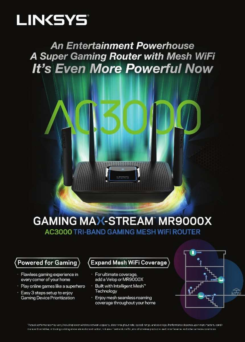 Linksys MR9000X Gaming Mesh WiFi Router Tri-Band AC3000