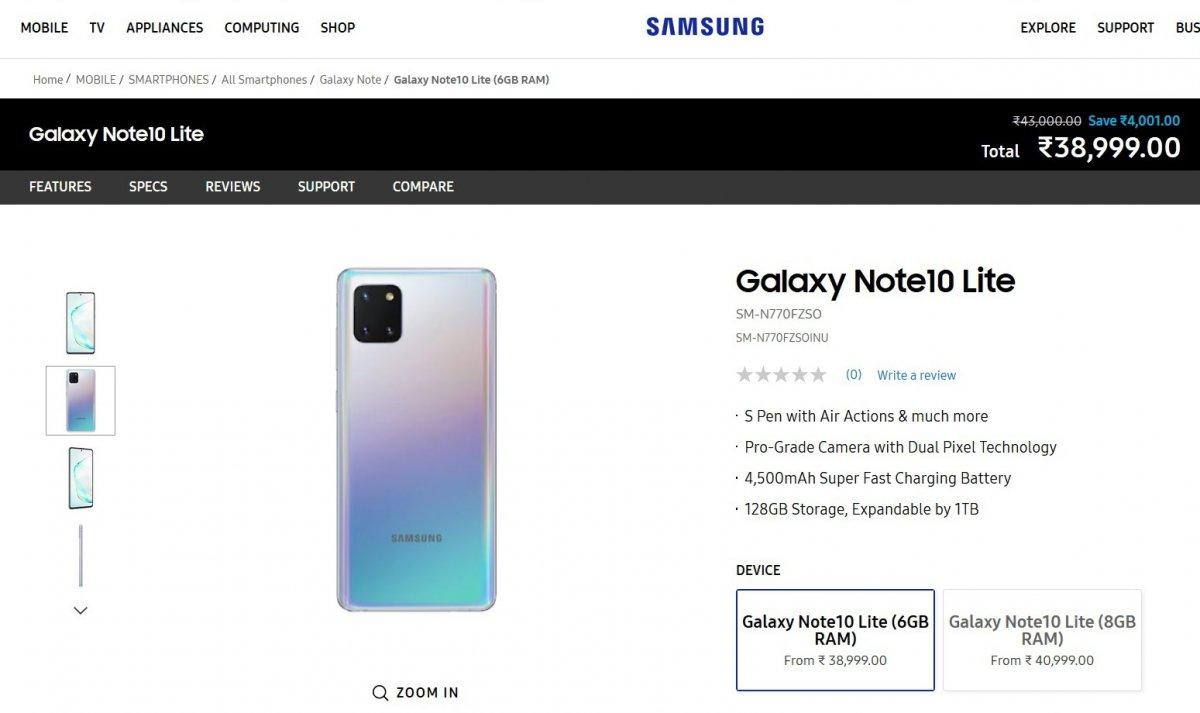 Samsung Galaxy Note10 Lite arrives in India